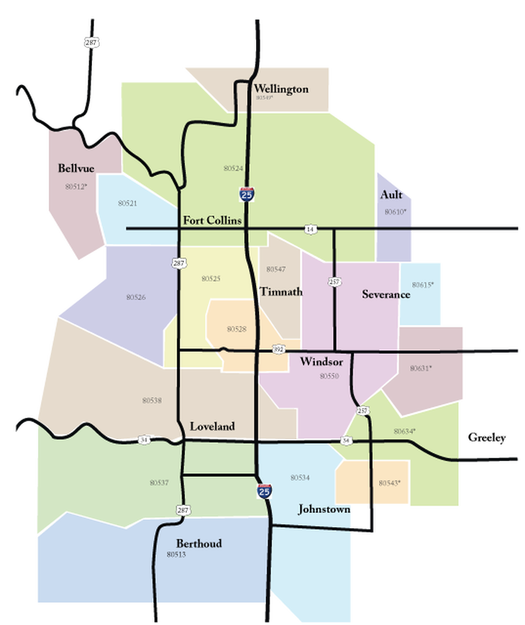Valpak Selections Mailing Map northern Colorado